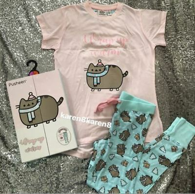 PUSHEEN THE CAT T Shirt Pyjamas Ladies Womens Pajamas Primark Gift Box