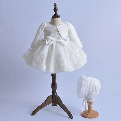 New Girls Ivory Lace Christening Party Dress Bonnet Jacket 0 3 6 9 12 Months