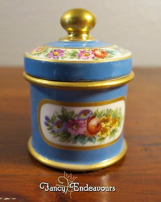 Antique Old Paris Porcelain Ink Well Hand Painted Florals Understated Elegance!