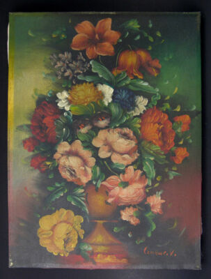 Early-Mid 20th Century Flower Bouqet Painting, Dutch Style Signed Cervoue, V (?)