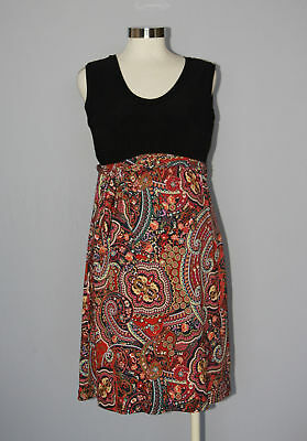 Japanese Weekend Maternity & Nursing Sleeveless Colorblock Paisley Dress S 6 8