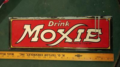 EXTREMELY TOUGH DRINK MOXIE EMBOSSED TIN LITHO SIGN-LOWELL MASS-6x19-VERY NICE!!