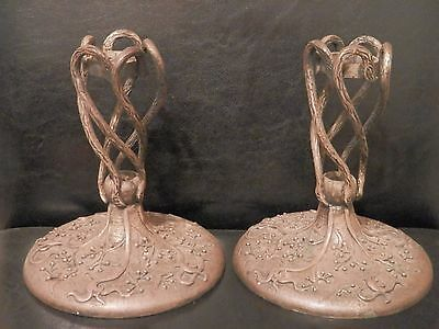 PAIR Old Arts and & Crafts BRONZE Candlesticks vintage MYSTERY MAKER WELL CAST