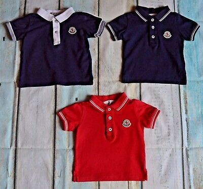 Baby Boys Moncler Designer Clothes Bundle 2 Polo Shirts 0-6 Months Excellent Con