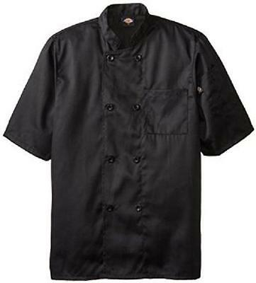 Dickies Chef Jacket L Black DCP124 BLK Plastic Button SS Black Uniform Coat New