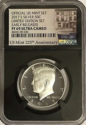 2017 S Proof Silver Kennedy Limited Edition Set Ngc Pf69 Er Ultra Cameo Retro