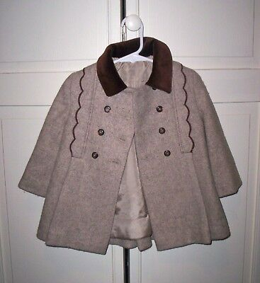 Vintage 60s Cute Togs New York Tweed Coat with Scallop Trim Girls Size 3