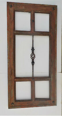 SPANISH COLONIAL ANTIQUE 5 PANE WINDOW FRAME MEXICO 47 5/8 x 22 7/8 x 1 1/2 n