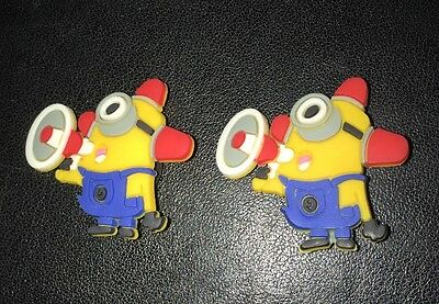 2 Minions Despicable Me Jibbitz Shoe Charms. Minions Croc Charms. Kevin Bob Dave