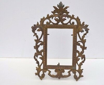Antique Victorian Heavy Brass/bronze Table Top Picture Frame Scroll Pattern