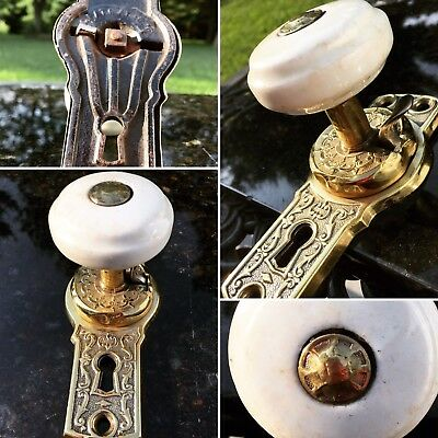 Antique Ornate French White Porcelain Door Knob Gold Brass Over Cast Iron 1800s