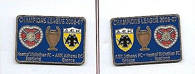 Heart of Midlothian v AEK Athens - Champs League 2006 - Home & Away Match Badges