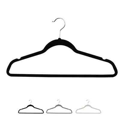 10/20pcs Flocking Non-Slip Thin Clothes Clothing Hanger Hook Suit Hangers 3Color
