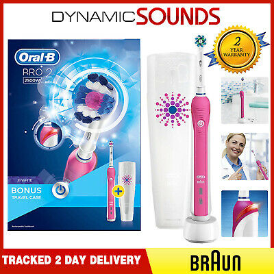 Braun Oral-B PRO 2 2500W Electric Rechargeable Power Toothbrush Gift Case - Pink