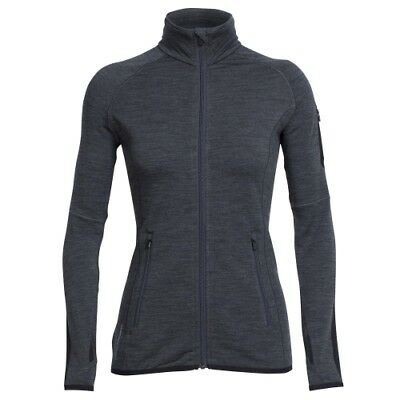 Icebreaker Atom LS Zip Women jet heather/black Damen Longsleeve Merino grau