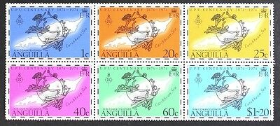 AT023 ANGUILLA 1974 UPU set of 6 stamps S/S Mint NH