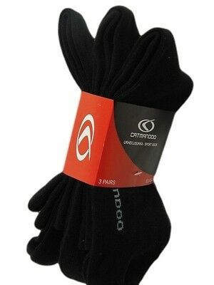 Catmandoo Unisex Sports Ankle Socks Three Pack Plain Black 6 - 11 New Cotton Mix