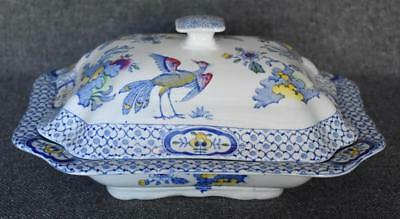 Gorgeous Bird Floral Antique Flow Blue Celebrate English Porcelain Casserole
