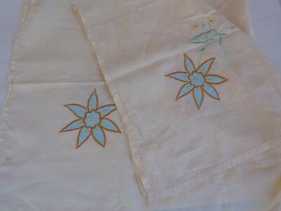 Vintage Pale Yellow Floral Orange Embroidered Square Tablecloth Hemstitched