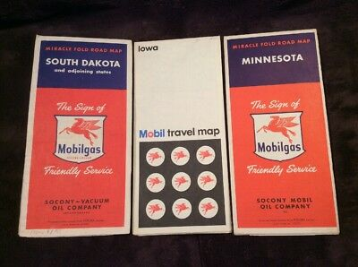 1950s Mobil Vintage Road Map Set Of 3 Iowa South Dakota Minnesota