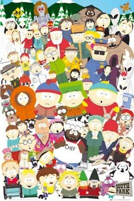SOUTH PARK ~ CAST COLLAGE 24x36 CARTOON POSTER Southpark Kenny Stan Kyle Cartman