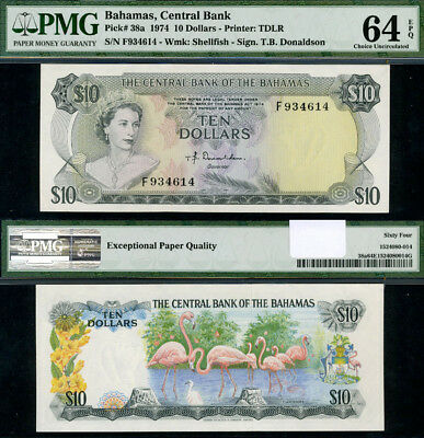 Pick# 38 A 10 Dollars 1974 Bahamas Choice PMG CU64 EPQ