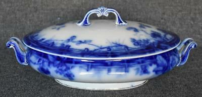 Gorgeous English Staffordshire Antique Flow Blue Cipsy Oval Covered Casserole