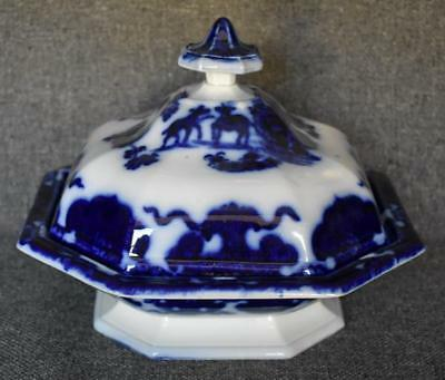 Rare Ridgway Morley Antique Flow Blue Cashmere Octagonal Covered Vegetable Dish
