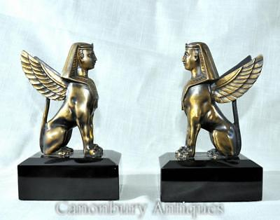 Pair Bronze  Sphinxes - French Empire Sphynx Griffins