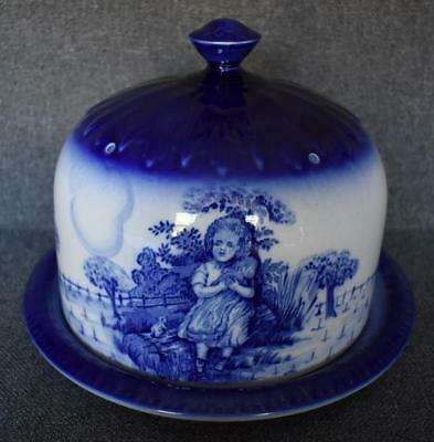 Antique Flow Blue Blakeney Pottery English Ironstone Large Cheese Platter & Dome