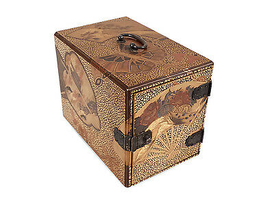 Antique Japanese Gold Lacquer Kodansu Miniature Cabinet Box Lavish Decoration