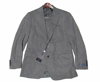 $1,650 Polo Ralph Lauren Mens Italy Grey Striped Bradford 2 Button Wool Suit 40R