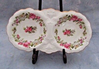 Exquisite Old Foley Harmony Rose Double Candy Dish - James Kent,england