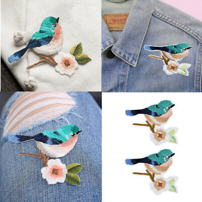 2pcs/set Flower Birds Sewing Embroidered Sew/Iron On Applique Patch Craft DIY