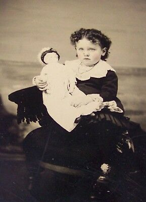 19c ANTIQUE VICTORIAN GIRL PORCELAIN DOLL TINTYPE PHOTO BISQUE
