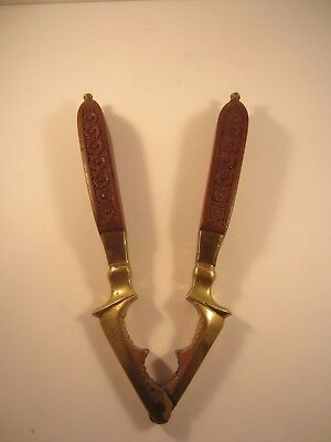 Vintage Christmas Nut Cracker Brass with Carved Floral Wooden Handle