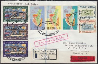 1968 Kuwait Express-R-Cover to Germany, scarce DASMAH label/cds [bl0302]