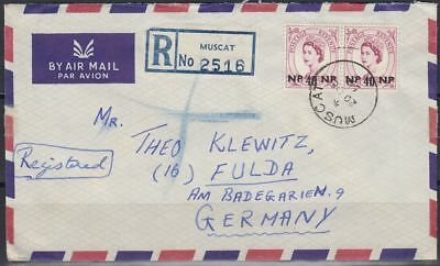 1959 Cover BPAEA MUSCAT OMAN to Germany, pair of 40np deep claret [bl0309]
