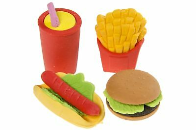 24er Pack Radiergummi Fast Food -Cola Pommes Hamburger Hot Dog -Radier Gummis