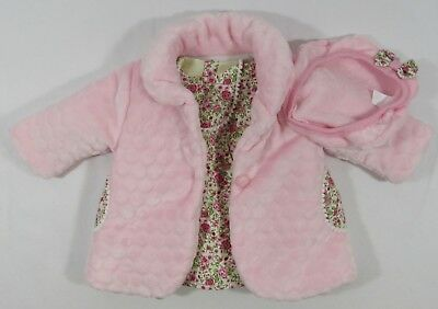 Babies Baby Girls Jacket Pants Coat Dress Hat Outfit Pink Flowers 3 Piece Set 12