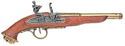 Denix 18th Century Pirate Flintlock Pistol Replica Gun - Brass Finish
