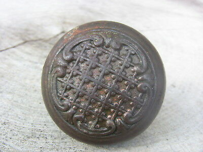 Antique Cast Iron Door Knob Ornate Eastlake Door Knob Lattice & Scrollwork 1800s