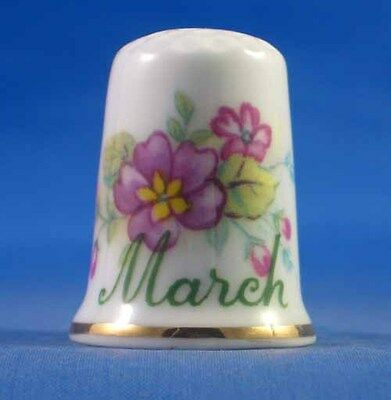 Fine Porcelain China Thimble - Flower Of The Month -- March -- Free Gift Box