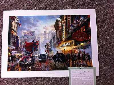 "Thomas Kinkade "" Batman, Superman & Wonder Woman "" DC Comics Lithograph 24 x 36"