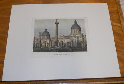 c1830s Antique COLOR Print///ANCIENT FORUM OF TRAJAN (TRAIANI), ROME, ITALY