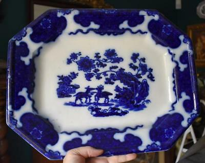 Gorgeous Rare Deep Cobalt J. Morley & Co Cashmere Antique Flow Blue Rect Platter