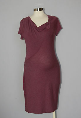 Japanese Weekend Maternity Nursing Casual Heathered Red Wine T-Shirt Dress S 6 8