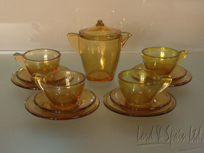 Vintage Akro Agate Amber Small Size STIPPLED BAND 14 Pc Childs Toy Tea Set