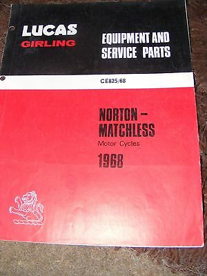 Norton & Matchless Motorcycles  1968 Lucas Equipment And Service Parts  Ce825/68