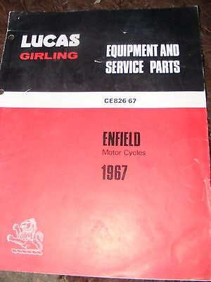 Enfield Motorcycles  1967  (Lucas Equipment And Service Parts)  Ce826/67